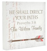 Personalized, Boxed Sign with Arrow, He Shall Direct Your Paths