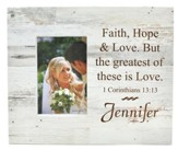 Personalized, Photo Frame Box, 4X6, Faith Hope Love,  White