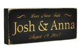 Personalized, Rustic Stick, Small, Love Never Fails,  Black