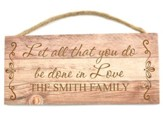 Personalized, Wooden Hanging Sign, Love