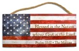 Personalized, Hanging Sign, American Flag, Psalm 33:12