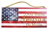 Personalized, Hanging Sign, American Flag, God Bless