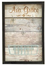 Personalized, Accessory Board, with Hooks and Basket, Wood, with Name