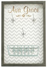 Personalized, Accessory Board, With Hooks and Basket,  with Name, Grey