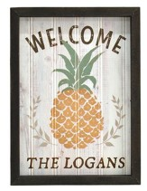 Personalized, Framed Plaque Sign, Welcome with   Pineapple