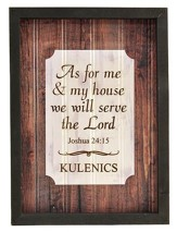 Personalized, Framed Plaque Sign, Wood, As For Me and My House