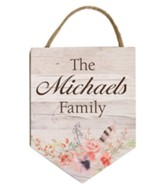 Personalized, Hanging Sign with Family Name, Floral