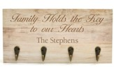 Personalized, Wooden Keyholder Plaque, Family
