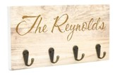 Personalized, Keyholder Plaque, Wooden with 4 Hooks, Family