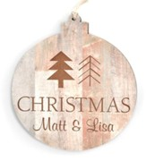 Personalized, Round Ornament, Wooden with Trees
