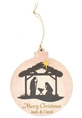 Personalized, Ornament, Round, Nativity