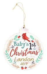 Personalized, Ornament, Round, Baby's First Christmas