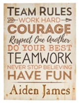 Personalized, Plaque, Team Rules, Large