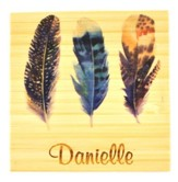 Personalized, Bamboo Magnet with Feathers