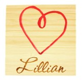 Personalized, Bamboo Magnet with Heart