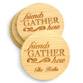 Personalized, Bamboo Coaster, Friends Gather Here