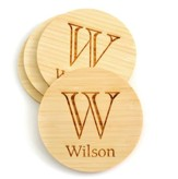 Personalized, Bamboo Coaster, with Monogram