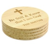Personalized, Bamboo Coaster, Round, Be Still