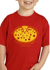 Pizza Heart Shirt, Red, Youth Large