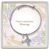 Cross First Communion Bangle Bracelet, Silver