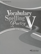 Abeka Vocabulary, Spelling, & Poetry V Quiz Key