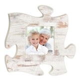 Weathered Puzzle Photo Frame, White