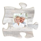 Weathered Puzzle Photo Frame, Gray