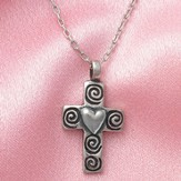 Swirled Cross and Heart--Pewter Pendant