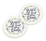 Grace Will Lead You Home, Car Coasters, Set of 2