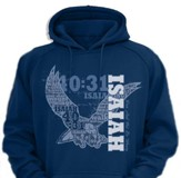 Fly Isaiah 40 Hooded Sweatshirt, Navy, Medium