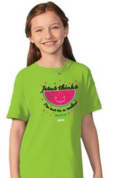 Jesus Thinks I'm One in a Melon Shirt, Lime Green, Youth Small