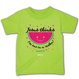 Jesus Thinks I'm One in a Melon Shirt, Lime Green, Toddler 4