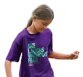 She Laughs Without Fear Shirt, Purple, Youth Medium