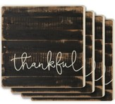 Thankful Coasters, Set of 4, Brown