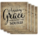 Amazing Grace, How Sweet the Sound Coasters, Set of 4