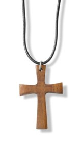 Flared Cross Wood Necklace