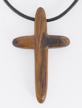 Rounded Wood Cross Pendant
