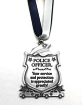 Police Officer Ornament on Blue & White Ribbon