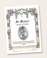St. Michael Pin on Blue & White Ribbon