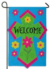 Welcome Cross Applique Flag, Mini