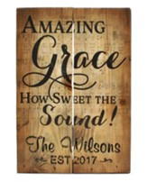 Personalized, Wooden Box Pallet Sign, Amazing Grace