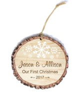 Personalized, Barky Ornament, with Snowflakes, Our  First Christmas