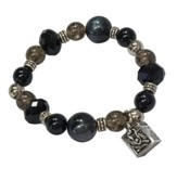 Black Beaded Stretch Bracelet with Prayer Box