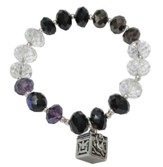 Black, Purple & Crystal Beaded Stretch Bracelet with Prayer Box