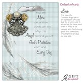 Love Guardian Angel Pin, Silver with Gold Scalloped Wings