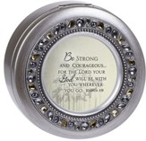 Jeweled Pewter Round Music Box, Be Strong And Courageous, Joshua 1:9