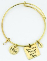 2018 Graduation Bangle Bracelet Goldtone, Gift Box