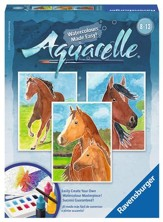 Aquarelle Water Color Painting, Horses