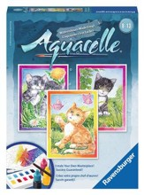 Aquarelle Water Color Painting, Cats