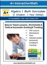 Math Curriculum Lesson eBooks, Worksheets & Tests with  Automatic Grading N Tracking Grades 8 & 9 (Algebra 1; 1 Year  Access)